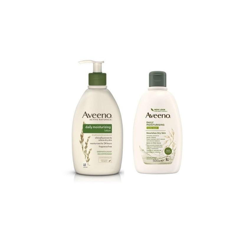 Ducha de baño Aveeno con crema corporal